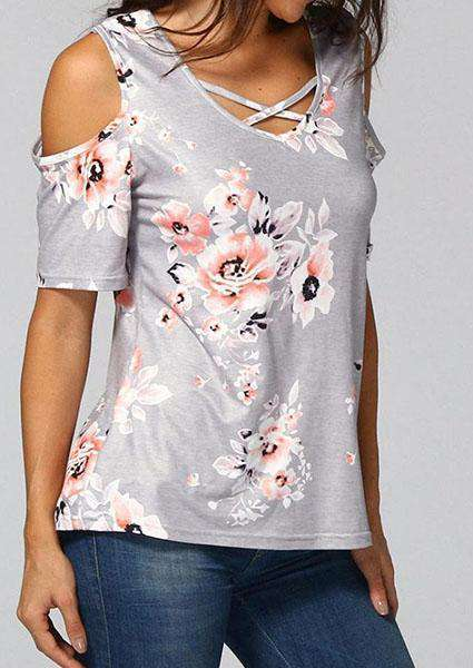 Criss Cross Printed Blouse