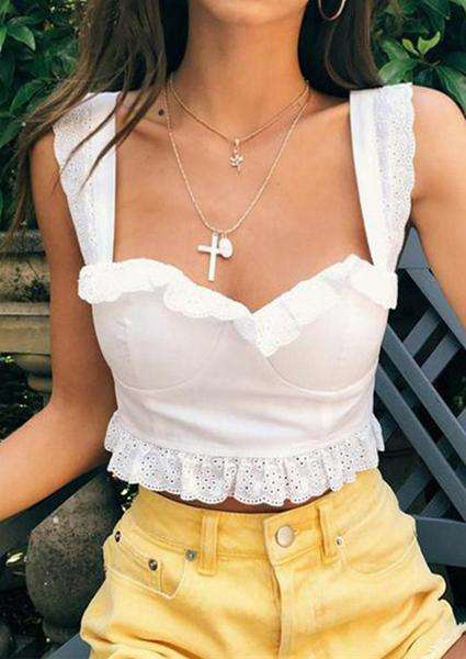 White Fungus Strap Crop Tops
