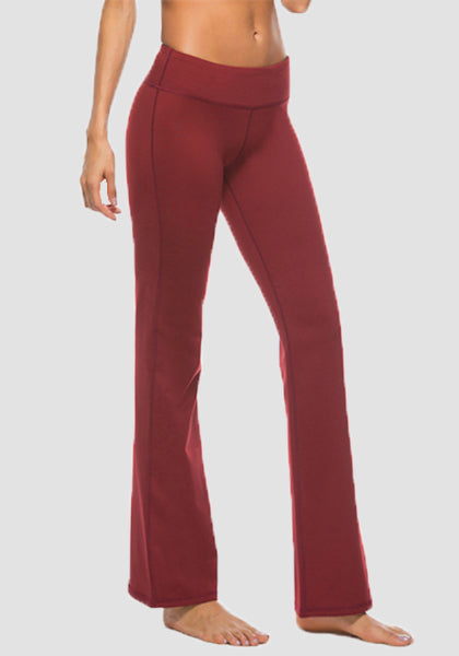 Women's Boot Leg Yoga Pant-Long Leggings-2ubest.com-Wine Red-S-2UBest.com
