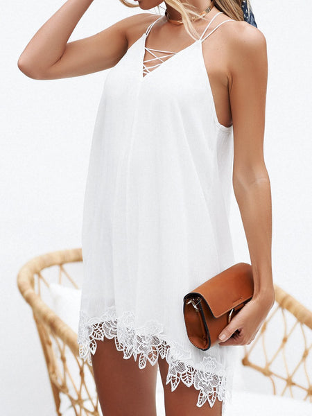 Solid Color Strap Lace Chiffon V-neck Dress