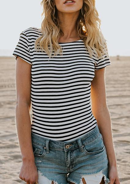 Black And White Stripe Backless T-shirt