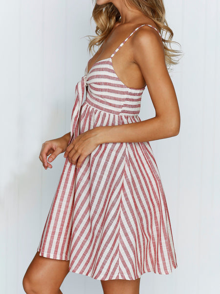 Stripe Printed Tie Chest Mini Dress