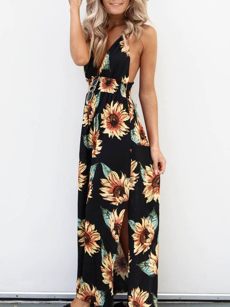 Deep V-neck Backless Floral Print Sexy Dress