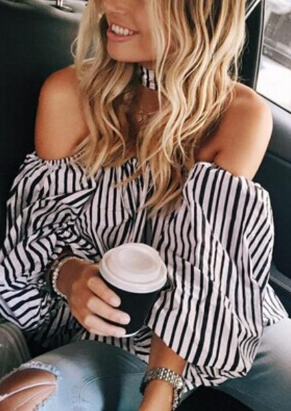 Off Shoulder Striped Loose Fitting T-shirt