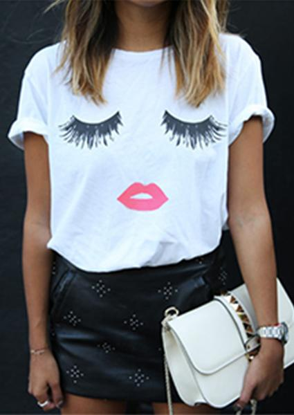 Red Lips Eyelash Printed T-shirt-T-shirts-2ubest.com-White-S-2UBest.com