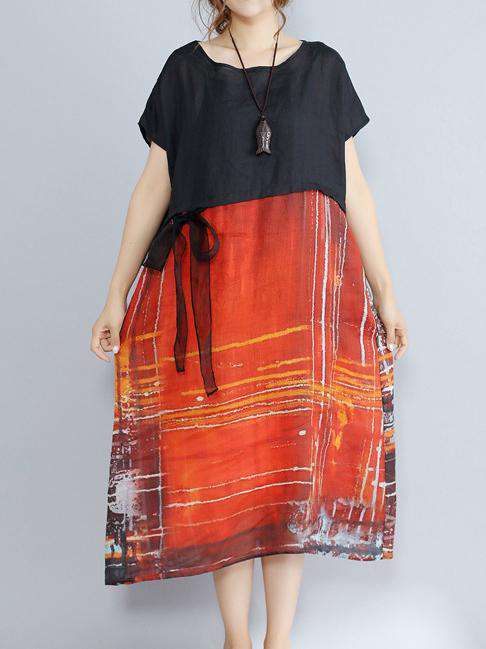 Art Cotton And Linen Large Loose Printed Dress