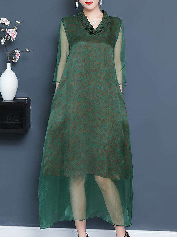 Retro Green Transparent V-leeg Pambansang Estilo Long Dress