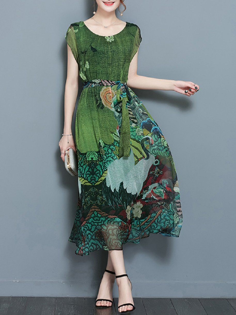 Chinese Panting Printed Mulberry O-neck Dress