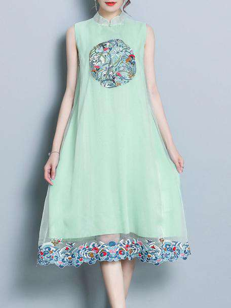 Banayad na Green Mulberry Silk National Style Midi Dress