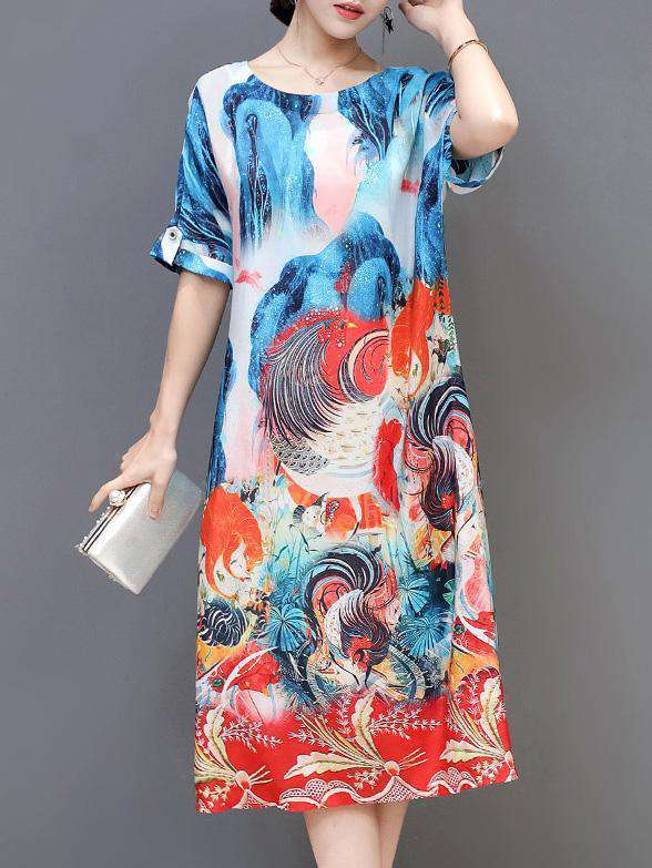 Chinese Panting Printed O-neck National Style Dress