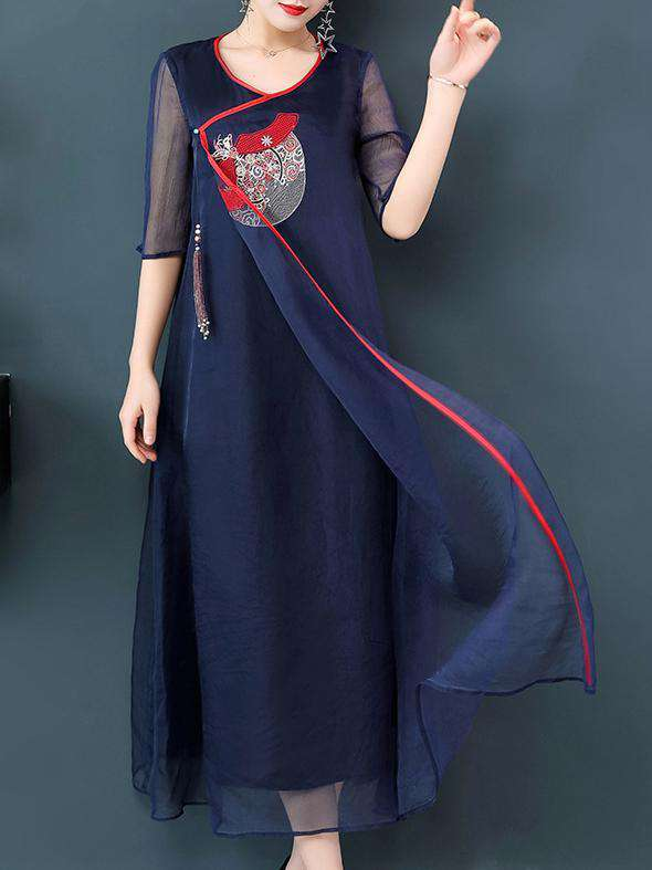 Dark Blue Mulberry Silk Embroidery National Style Long Dress