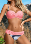 Striped Splicing Ruched Bikini Set-Bikini Set-2ubest.com-Pink-S-2UBest.com