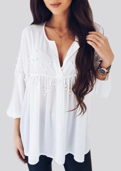 Solid White Long Sleeve V-neck Beads Blouse