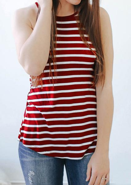 Stripe Print Sling High Neck Tank