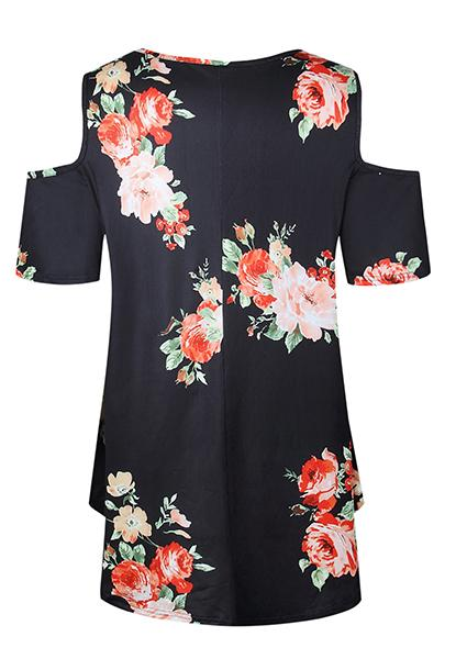 Bare Shoulder estampado floral camiseta-T-shirts-2ubest.com-Black-S-2UBest.com