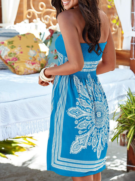 Printed Off-shoulder Sleeveless Maxi Dress