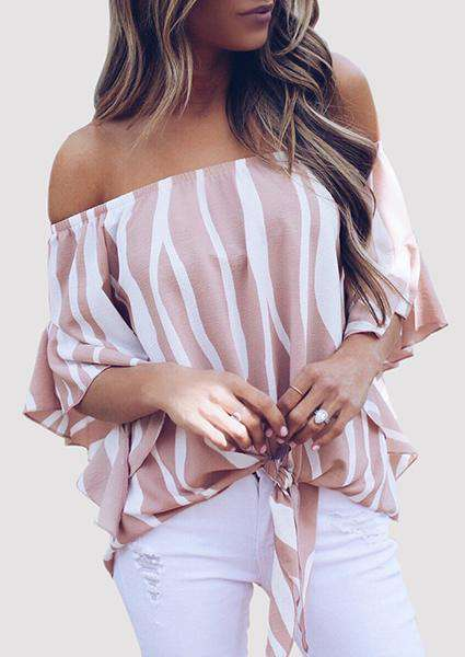 Off-shoulder Pink Stripe Blouse