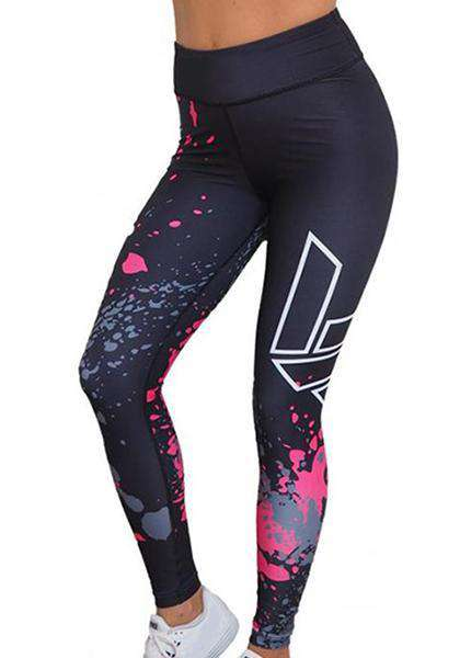 Print High Waist Elastic Yoga Leggings