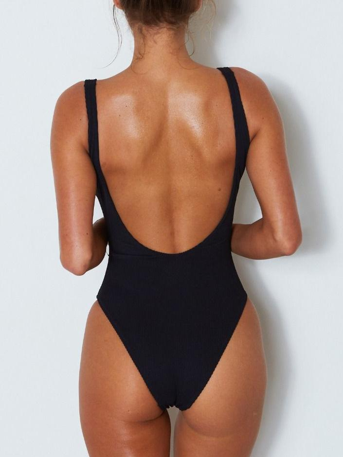 Bow-knot Backless One-piece Swimsuit
