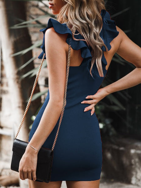 Ruffled Leaf Backless Sexy Dress