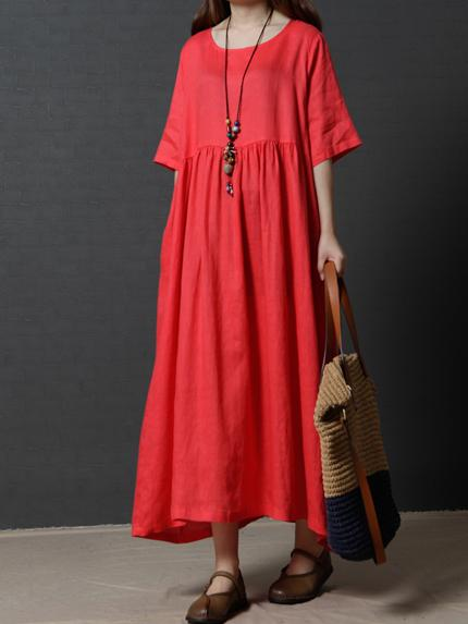 Solid Color Flax Short Sleeve O-neck Dress