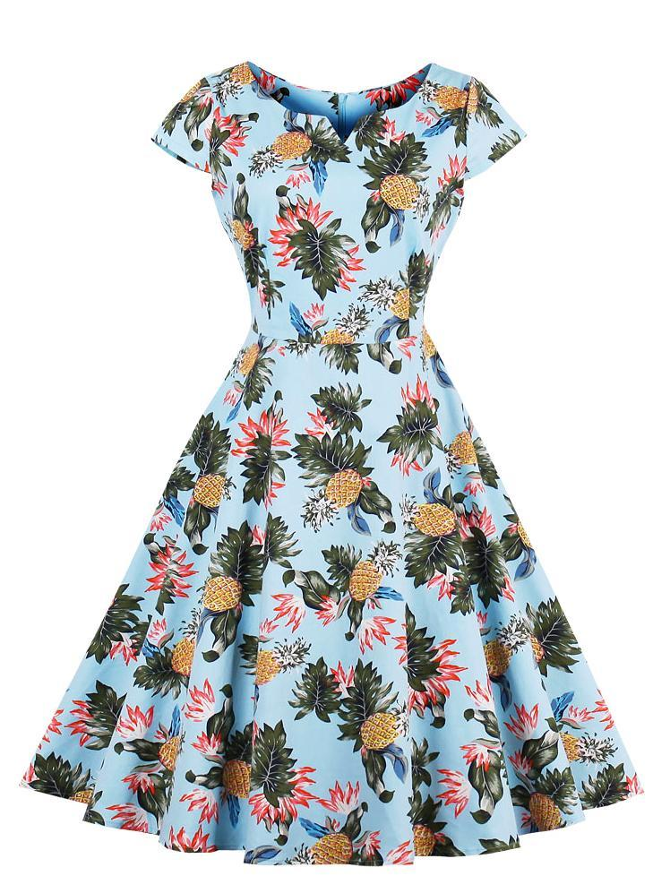 Short Sleeve Printed Vintage Dress