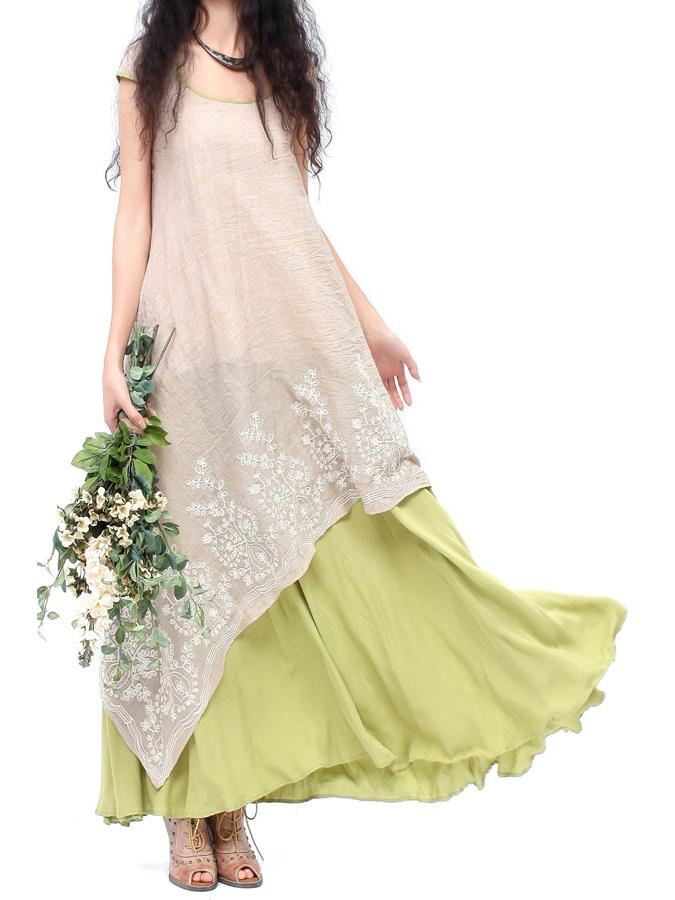 Solid Beige At Green Color O-leeg Pambansang Estilo Long Dress
