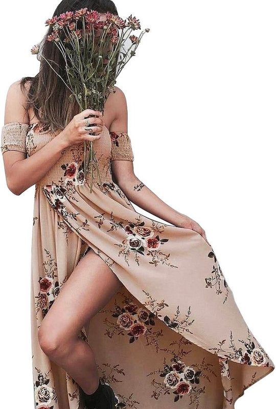 Off Shoulder Floral Short Sleeve Long Dress