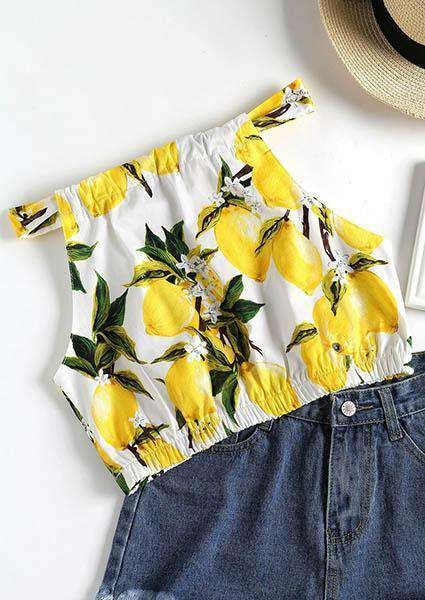 A Collar Printing Wrapped Chest Crop Tops