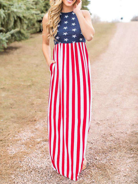 America Flag Printed Floral Maxi Dress
