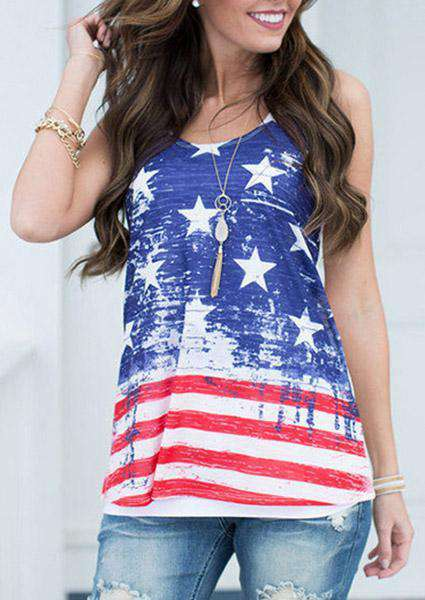 America Flag Printed Tanks