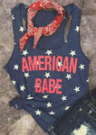 American Babe Letter Tanks Printing