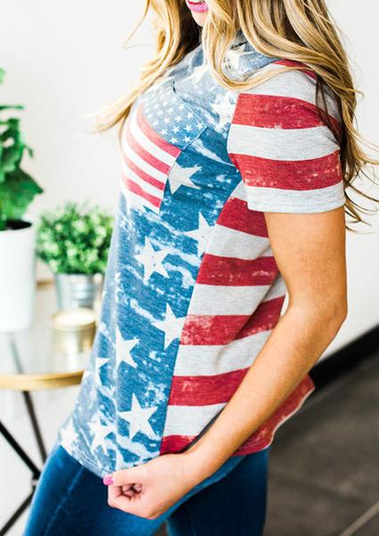American Flag Printed Blue Fashion T-shirt