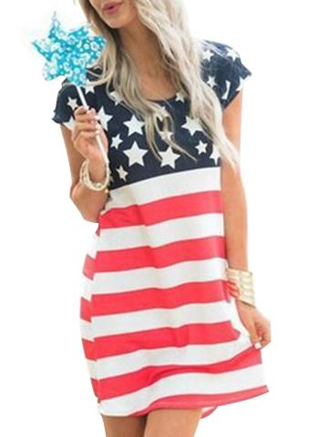 American Flag Printed Short Sleeve Mini Dress