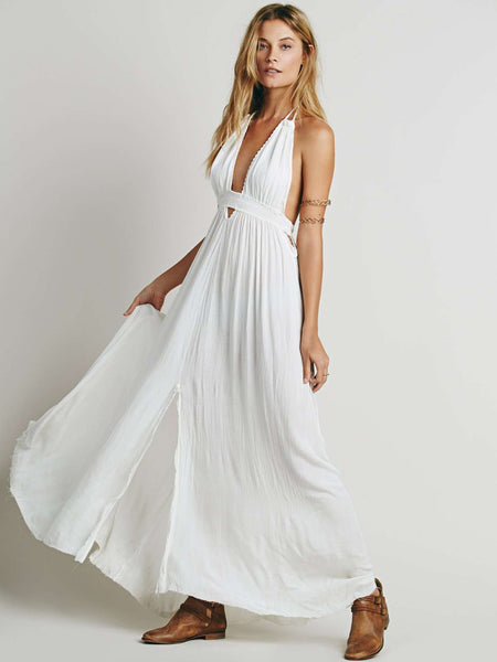 Backless Beach Cotton Halter Solid Color Dress
