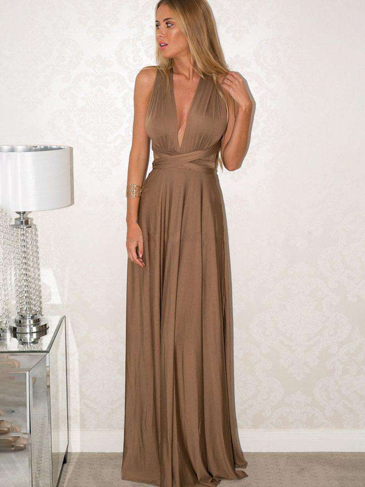 Backless Sexy Bandage Solid Color Long Dress