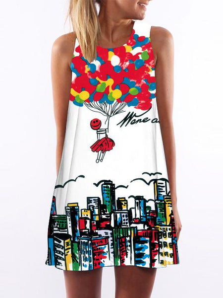 Balloon Pattern Printed Loose Dress