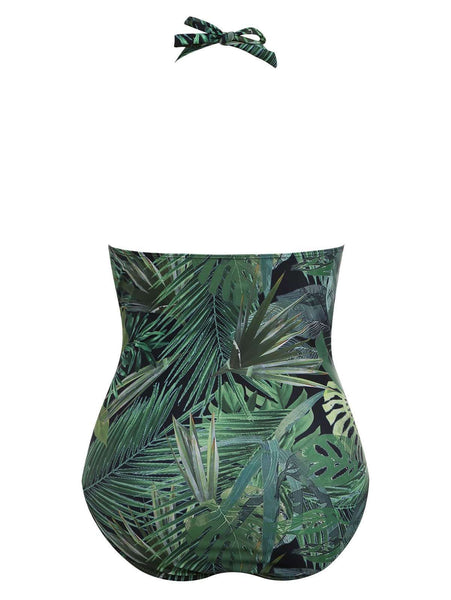 Banded Printed Slimming One-piece Swimsuit