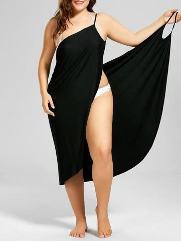 Abrigo de playa Plus Size Wrap Dress-Plus Size-2UBest.com-2UBest.com