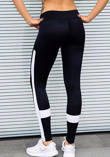 Black And White Patchwork Yoga Pants
