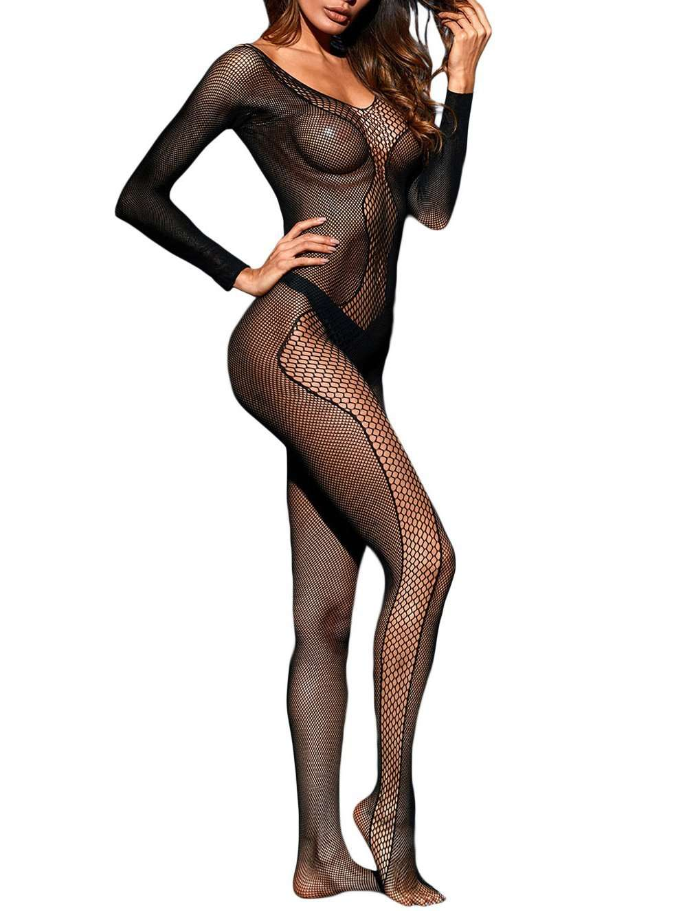 Black Asymmetrical Fishnet V-neck Long-sleeved Slit Tights Pantyhose