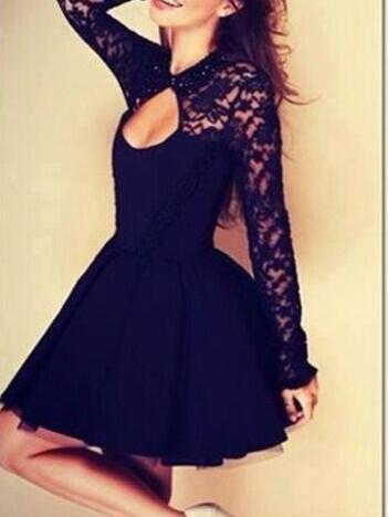 Black Halter Lace Dress