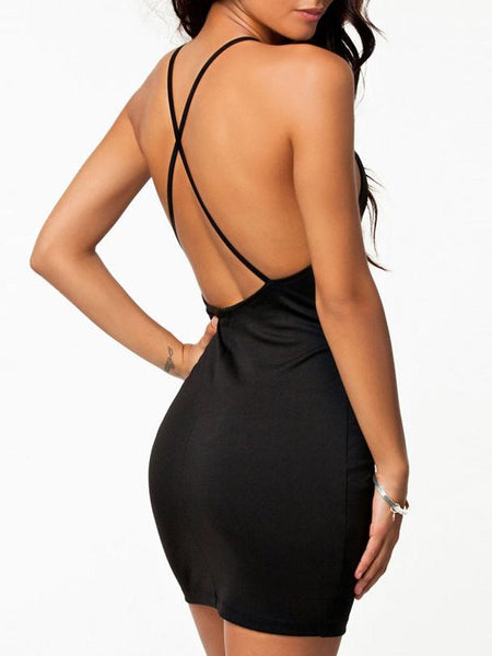 Black Slip Halter Bodycon Dress