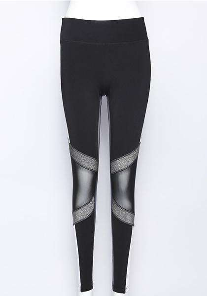 Black&White English Letter Printed Mesh Patchwork Workout Long Yoga Leggings
