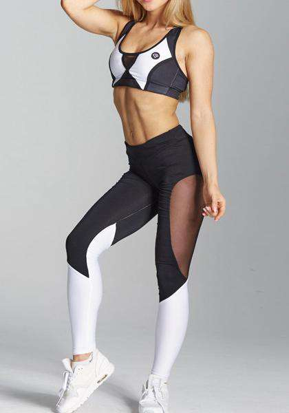 Black&White Quick-drying Mesh Workout Yoga Leggings