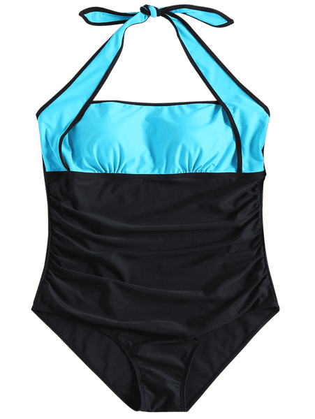 Blue and Black Stitching One-piece Swimsuit
