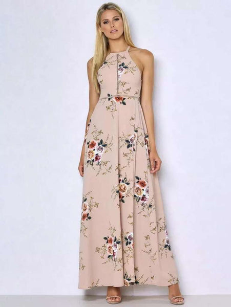 Bohemian Halter Floral Printed Dress