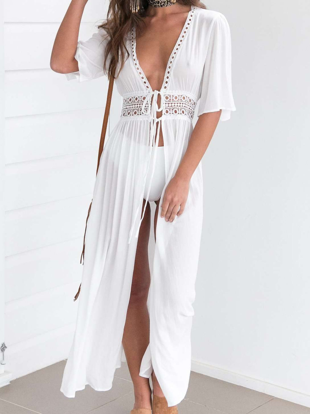 Bohemian Low Neck Solid Color Beach Sexy Long Dress