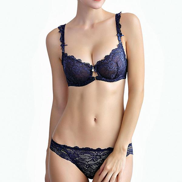 See Through Bow - Ensemble de soutien-gorge en dentelle sexy