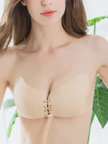 Front Tie Strapless Push Up Silicone Bra